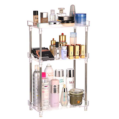 Bathroom Organizer Countertop, 3-Tire Vanity Tray Corner Shelf for Makeup Cosmetic Perfume Skincare Bathroom Supplies and More, Multi-Functional Acrylic Organizer in Vanity Dresser Bathroom and More