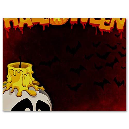 MEITD Halloween vela cráneo Art Print,Pintura de lona de poliéster,Sala de estar cocina dormitorio hogar decoración de pared