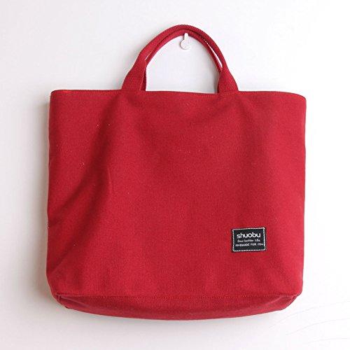 Originale in tela vintage Borse Borse donna colore solido canvas shopping bags borsetta ,rosso