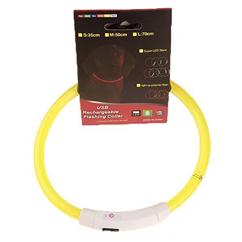 LED halsband, USB oplaadbare Ultra Bright LED Dog Safety Collar, verhoogde zichtbaarheid en veiligheid voor uw huisdieren, verstelbare op maat te snijden,Yellow,35cm