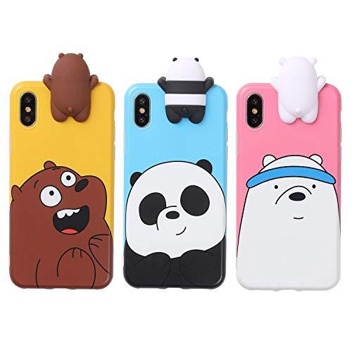Aikeduo Schutzhülle für iPhone Xs Max (3D-Cartoon-Tiere, süß, nackte Bären), weiches Silikon, 3 Stück