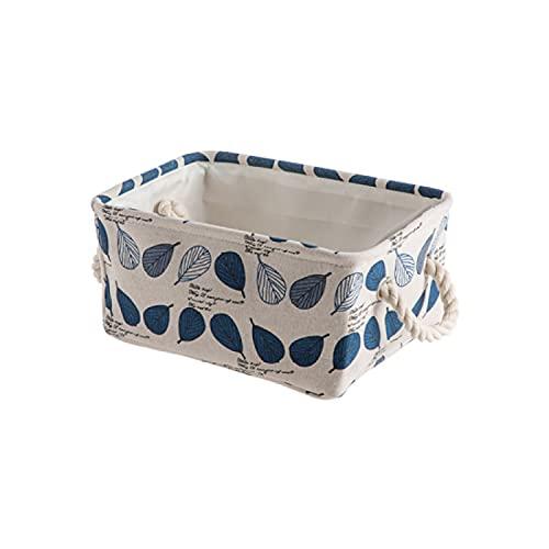 CNYG Cestas de sostenible para la Colada Plegable con Asas, Organizador, Cesta de Almacenamiento para artículos de tocador, Cajas para Juguetes y Regalos Azul 30.5 * 20.7 * 14.5cm