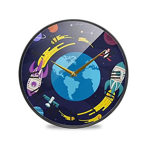 Cohete De Tierra Arte Reloj de Pared Silencioso Decorativo Relojs para Niños Niñas Cocina Hogar Oficina Escuela Decoración