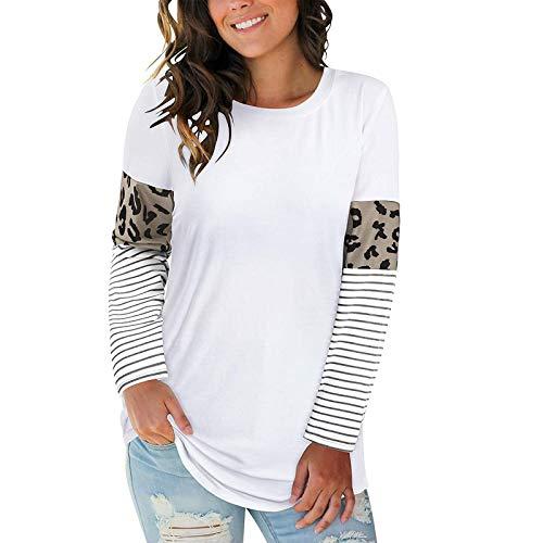 Blusa con Estampado de Leopardo para Mujer Tops de túnica de Retazos Casuales Camiseta de Manga Larga con...