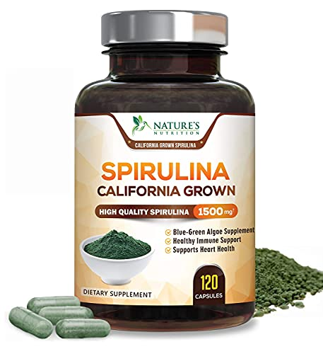 Spirulina Capsules 1500mg, Extra Strength Spirulina Blue-Green Micro-Algae Powder Supplement, Nutrient Dense Plant with Natural Antioxidants, Fatty Acids, Vitamins, Minerals - Non-GMO - 120 Capsules
