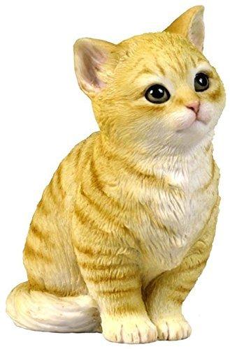 4.25 Inch Sitting Kitten Decorative Statue Figurine  Orange and White