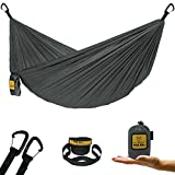 Wise Owl Outfitters Ultralight Camping Hammock with Tree Straps - Feather Light Lightweight Compact Durable Ripstop Parachute Nylon Hammocks - Outdoor Travel Backpacking Hiking – Grey