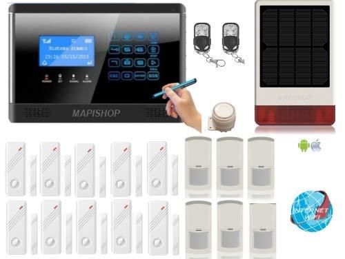 Mapishop CLARENCE Allarme Casa Kit nuovo modello 2020, Con INTERNET wifi , COMPLETAMENTE CONFIGURATO (CLAR 3solar )