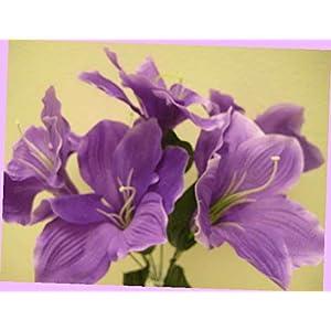 Artificial 2 Bushes Purple Amaryllis Artificial Silk Flowers 16″ Bouquet 6-647pu Bouquet Realistic Flower Arrangements Craft Art Decor Plant for Party Home Wedding Decoration