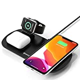 Cargador inalámbrico Rápido, Estación de Carga Rápida Qi Inalámbrica 3 en 1 Soportes de Carga de para iPhone 11/11 Pro Max /X/XS Max/8, para Apple Watch Charger 5/4/3/2/1; para Airpods Pro 1/2/pro
