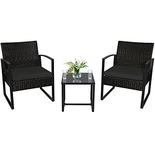 3-Piece Outdoor Bistro Wicker Chair Set, Porch Balcony Rattan Furniture, Modern Wicker Chair Set, Patio Conversation Set with Coffee Table and Cushions, Suitable for Garden Yard Porch (Black)