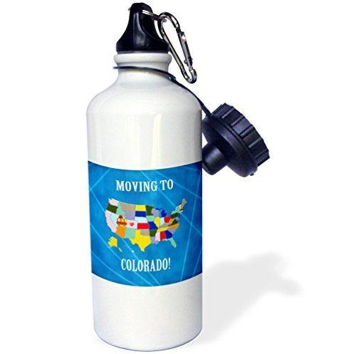 Cukudy sport waterfles cadeau voor kinderen meisje jongen, Beverly Turner verhuizen naar de Verenigde Staten kaart verhuizen naar Colorado hart en auto met bagage roestvrij staal waterfles voor school kantoor reizen 21oz