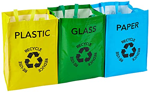 Premier Housewares 1900261 Clear Bin Bags For Recycling Storage Biodegradable Kitchen Bin Set Recycling Box Small Bin Bags Pack of 3 bags 31 x 30 x 44