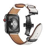 Correas de cuero para Apple Watch, correa con hebilla de mariposa...