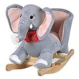 vidaXL Elefante Balancín para Niño Pequeño Gris Felpa Mecedora Animal de Bebé