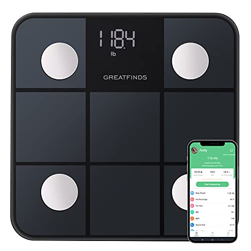 Scales for Body Weight Greatfinds Bluetooth Digital Scale,SmartBathroom Scale Body Composition Analyzer, Body Fat%, BMI, Water Percentage, Muscle & Bone Mass, 396lbs,10.24x10.24Inch