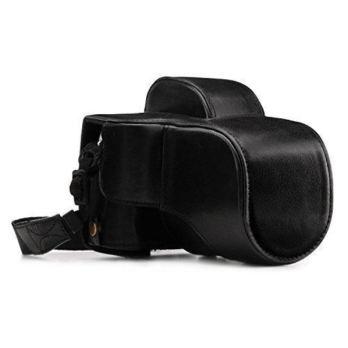 MegaGear Ever Ready Echtleder Kamera-Hülle mit Trageriemen & Batteriezugang Fujifilm X-E3 (23mm und 18-55mm) schwarz MG1339