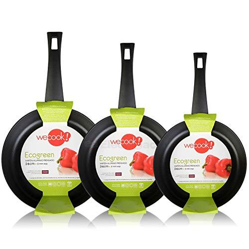 WECOOK Ecogreen Set Juego 3 Sartenes 20-24-28 cm Aluminio, inducción, Antiadherente ecológico...