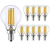 ASIA LED - 10 x Lampadina LED a Filamento E14 G45 Mini Globo 5W , 6500 Lumen, Fascio Luminoso 320° (Luce Calda 2700k) Non Dimmerabile [Classe di efficienza energetica A+]