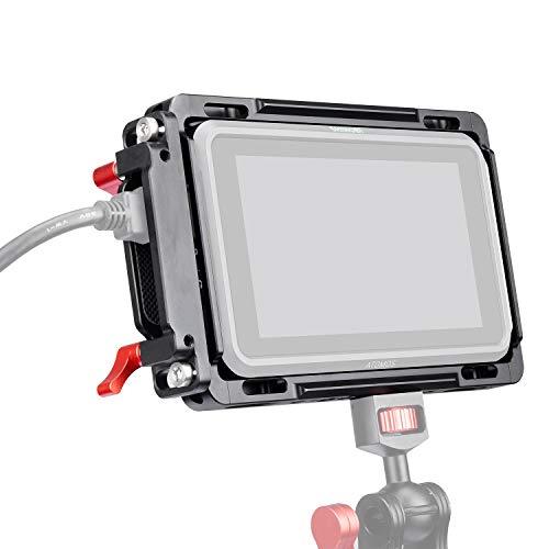 ANDYCINE Jaula de monitor con parasol para Atomos Nijna V, Atomos Shinobi, Rieles OTAN integrados y abrazadera de cable HDMI