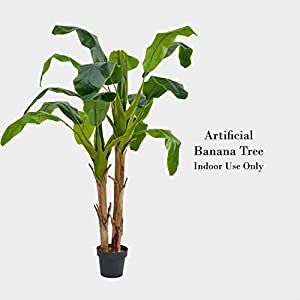 "Artificial Banana Leaf Tree in Pot, Base Material: Plastic, Overall: 72"""" H x 24"""" W x 24"""" D"