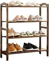 ポーチ4段靴ラック木製収納キャビネット家具ユニット靴オーガナイザー竹棚12ペア用(栗色)(L)69x(D)25.5x(H)80cm家庭用品