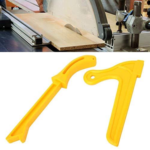 Filfeel wosume Plástico Amarillo 2-en-1 Sierra de Madera Palo de Empuje Práctico Bloque de Empuje de Seguridad Herramienta para Trabajar la Madera 2 Piezas