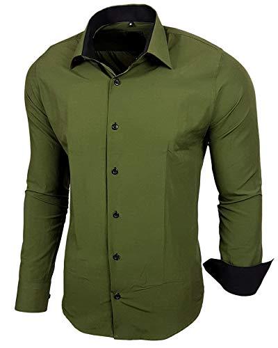 Baxboy Baxboy Herren-Hemd Slim-Fit Bügelleicht Für Anzug, Business, Hochzeit, Freizeit - Langarm Hemden für Männer Langarmhemd R-44, Farbe:Khaki, Größe:XL