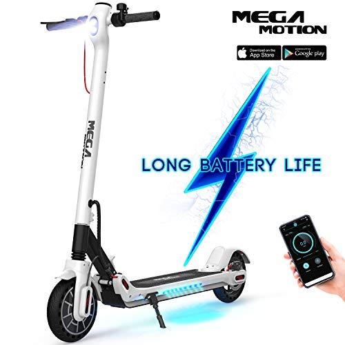 Mega Motion E- Scooter Portátil Patinete Eléctrico Plegable de 8.5 Pulgadas con Bluetooth, Velocidad de hasta 30 km/h, Pantalla LCD,...