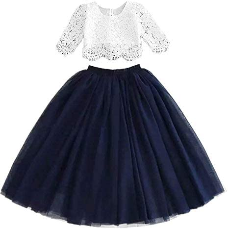 2Bunnies Girl Floral Lace Pearl Tutu Tulle Flower Girl Dress Sets Navy 6 product image