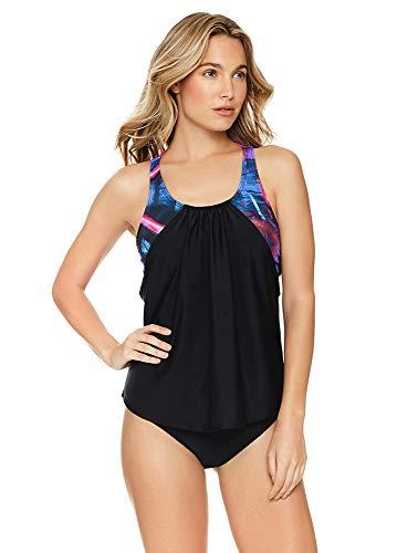 Reebok Women's Swimwear Urban Glowstick Strappy Back Scoop Neck Soft Cup Tankini Bathing Suit Top