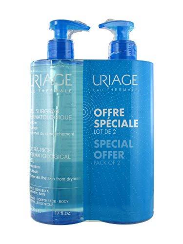 Uriage Gel surgras dermatologique 500 ml - Lot de 2 (500 ml + 500 ml)