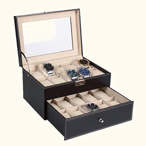 GFDFD Caja de Reloj- Caja de Almacenamiento de Organizador de Reloj de joyero Negro con