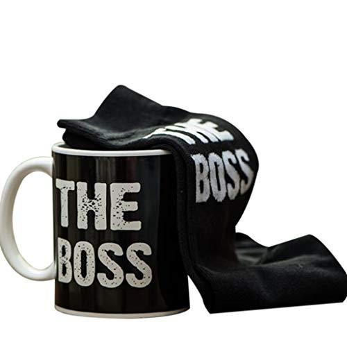 Lalia The Boss für den Chef im Haus Socken Set 12x14x15cm Größe 40-46 Keramik Tasse Tee Kaffeetasse