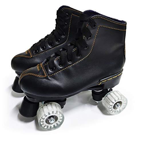 Qingting Doppelreihige Rollschuhe für Erwachsene, männlich und weiblich, zweireihig, Outdoor-Sportschuhe, Schwarz, 8 Stück