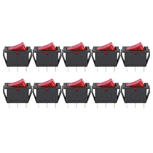 LANTRO JS - 10 piezas luz roja encendido/apagado coche barco interruptor basculante negro Mini interruptores basculantes KCD3 15A 250VAC