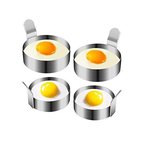 KINOEE Egg Ring, Stainless Steel Omelette for Fried Eggs, Non-Stick Cooking Rings,Egg Rings for Frying pan (2 Sizes, 4 Packs)