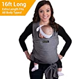 CuddleBug 9-in-1 Tragetuch Baby Erstausstattung + Tragetuch Baby – Babytrage Neugeborene & Kleinkinder bis 16 Kg - Hände frei Baby Tragesystem- Ideal für Babyparties - Einheitsgröße - Grau
