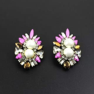 New Baroque Retro Court Fashion Earrings shourouk Style All Crystal Pearl Earring Design Statement shourouk Earrings 469 - (Metal Color: 2)