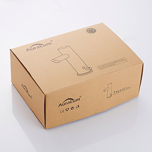 Auralum – Waschtisch-Armatur, Kalt- und Warmwasser, Sensorarmatur, Infrarot IR, Batteriebetrieb, Chrom - 8