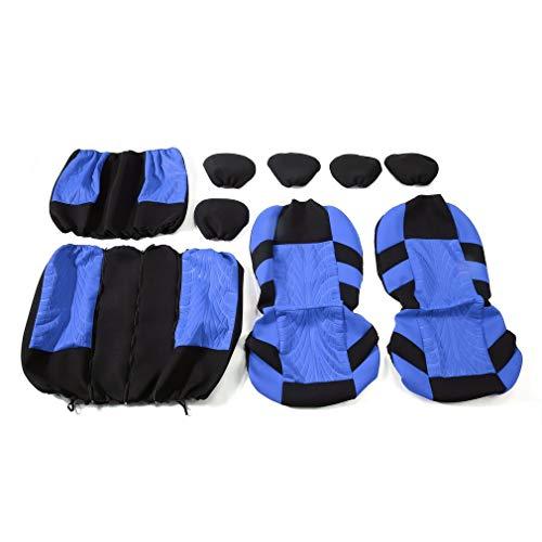 9 stks/set Auto-interieur Styling Stoelhoezen Wasbaar Beschermkussen Blauw