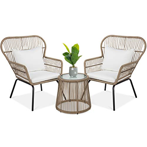 Best Choice Products 3Piece Outdoor AllWeather Wicker Conversation Bistro Furniture Set w/ 2 Chairs and Glass Top Side Table Tan