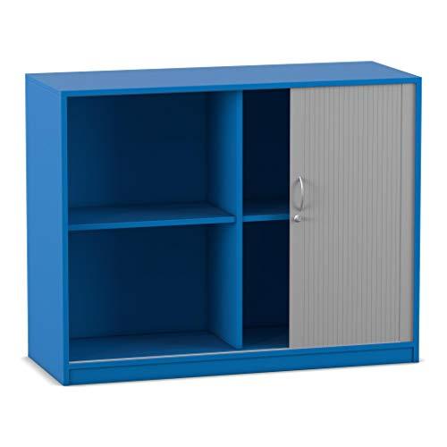 Flexeo Rollladenschrank - Aktenschrank Abschliessbar - Holz-Schrank Aufbewahrungsschrank Raumteiler Büro-Möbel