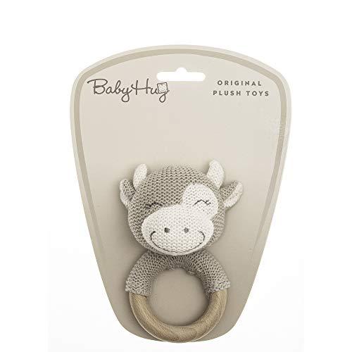 BABY HUG 3831118800216 Strickplüsch, Kleine Kuh 13cm, Holzrassel, Beige, Natural