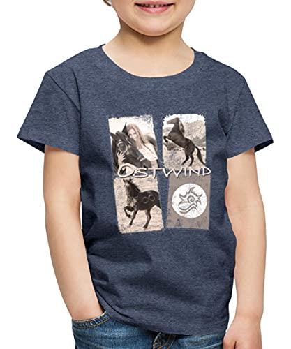 Spreadshirt OSTWIND Aufbruch Nach Ora Collage Kinder Premium T-Shirt, 134-140, Blau meliert