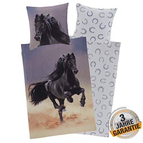 Aminata Kids Bettwäsche-Set Pferd 135 x 200 cm + 80 x 80 cm aus Baumwolle mit Reißverschluss, unsere Kinder-Bettwäsche mit Pferdebettwäsche-Motiv ist weich, kuschelig - schwarz, Black, Pferde-Motiv