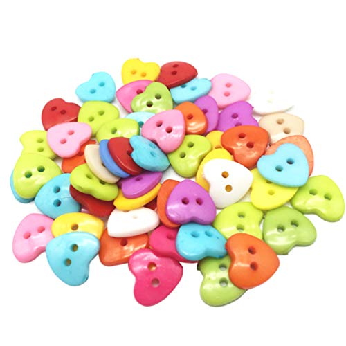 Milisten 100pcs Cute Button Heart Shaped 2 Holes Resin Sewing Buttons