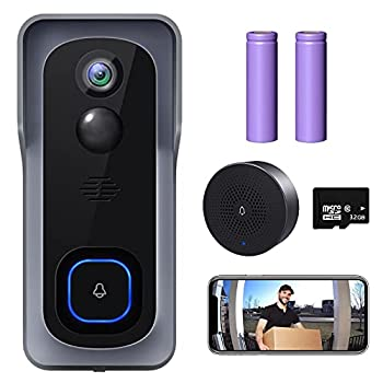 WiFi Video Doorbell Camera XTU Wireless Doorbell Camera with Chime 1080P HD 2-Way Audio Motion Detection IP65 Waterproof No Monthly Fees and 32GB SD Card Pre-installed