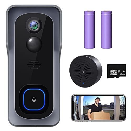 WiFi Video Doorbell Camera, XTU Wireless Doorbell Camera with Chime, 1080P HD, 2-Way Audio, Motion...