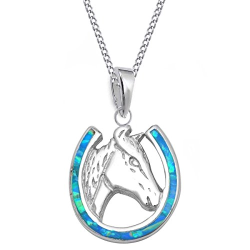 GH* Opal Hufeisen mit Pferdekopf ANHÄNGER + KETTE 925 Echt Silber Mädchen Damen Pferde CH24 (45)